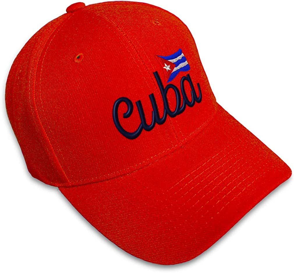 Custom Baseball Cap Cuba Flag with Word Style B Embroidery Acrylic Strap Closure