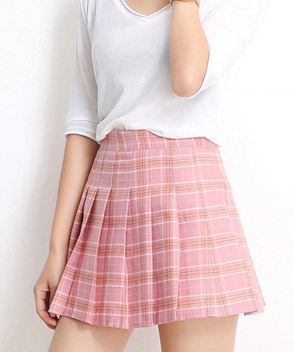 Minifalda plisada de cintura alta estilo g/ótico a cuadros con cordones para mujer