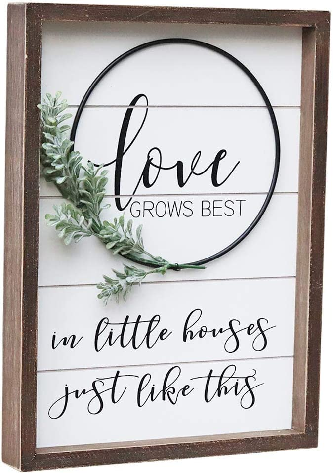 Parisloft Wood Wall Sign with Inspirational Love Quote - Love Grows Best in Little House Just Like This | Rustic Farmhouse Accent Love Sign Plaque with PVC Green Leaf