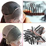 Dreamhair Anti-Rust Wig Combs for Making Wig 25pcs/pack Wig Combs for Lace Wig and Hair (Brown Color)