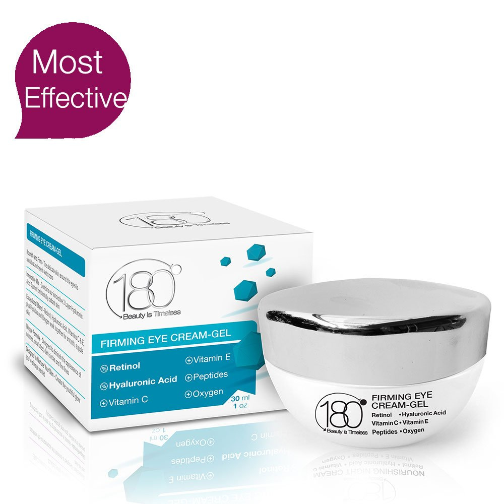 180 Cosmetics Firming Eye Cream Gel - Visibly Remove Fines Lines, Wrinkles, Dark Circles and Puffiness - The Best Hyaluronic Acid, Retinol Peptides Cream - BLACK FRIDAY DEALS
