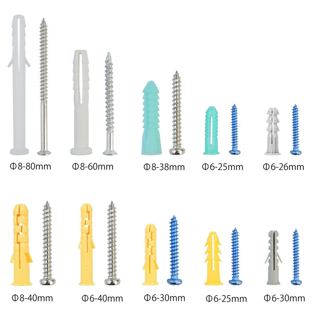 Nydotd 200 Pcs Plastic Self Drilling Drywall Ribbed Anchors Assortment with Screws Kit with Srtorage Box Case- 100 Self Tapping Screws +100 Ribbed Anchors with Expansion Design
