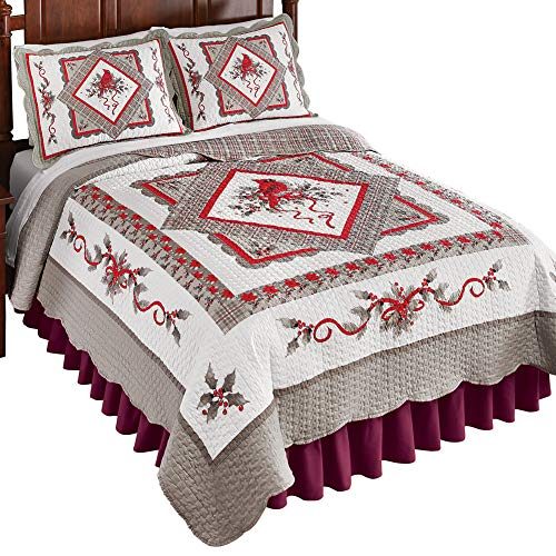 (Collections Etc Refreshing Silver and White Cardinal Quilt, Winter Seasonal Accents in Red, Silver, King )