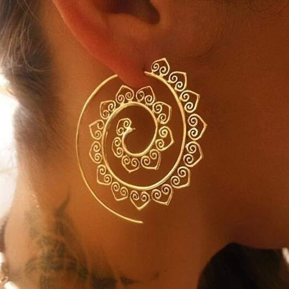 UNKE Round Swirl Maze Spiral Threader Earrings Vintage Jagged Circles Dangle Earrings Tribal Jewelry for Women
