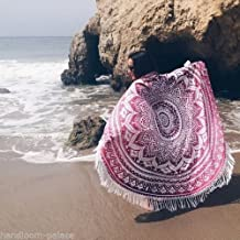 Handicrunch Indian Mandala Round Roundie Beach Throw Tapestry Hippy Boho Gypsy Cotton Tablecloth Beach Towel , Round Yoga Mat