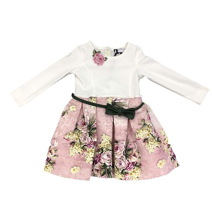 0563864743f4 MONNALISA Vestito Bambina 112905 Panna Abito Inverno  Amazon.it   Abbigliamento