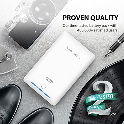Portable Chargers 16750 RAVPower 16750mAh External Battery Pack 4.5A Dual USB Output External Phone Charger Battery Bank Power Bank (iSmart 2.0 Tech) for Nintendo Switch, iPhone 7, Galaxy S8 - White
