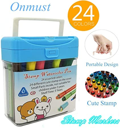 ROLLER STAMP FELT TIP PENS Cute Animal /& Shape Kids Colouring Stationery Craft