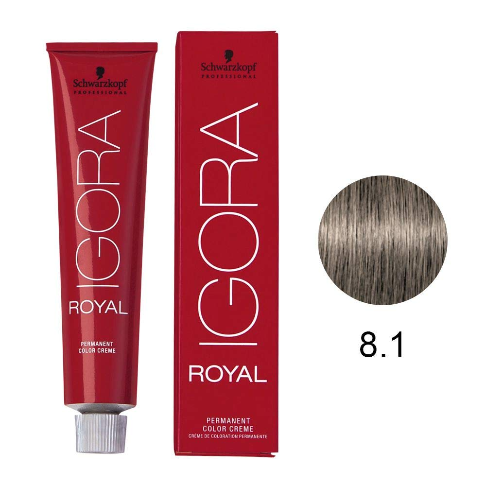 Schwarzkopf Professional Igora Royal Permanent Hair Color, 8-1, Light Blonde Cendre, 60 Gram