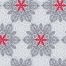 Elegant SILVER, WHITE & RED SNOWFLAKES Christmas Holiday Gift Wrap Paper - 16 Foot Roll