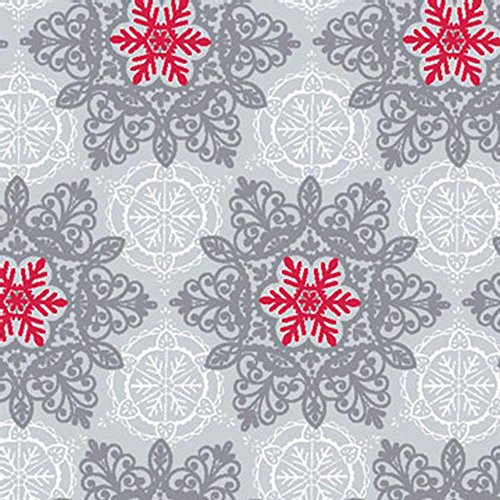 Elegant SILVER, WHITE & RED SNOWFLAKES Christmas Holiday Gif
