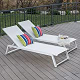 Cheap Great Deal Furniture Mesa Outdoor White Mesh Chaise Lounge with White Finished Aluminum Frame (Set of 2)