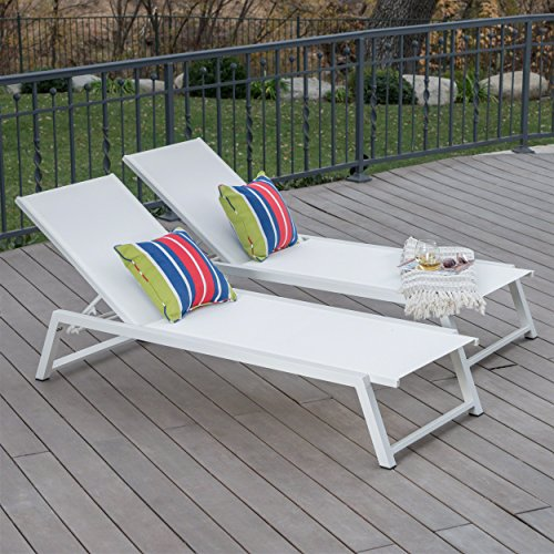 Great Deal Furniture Mesa Outdoor White Mesh Chaise Lounge with White Finished Aluminum Frame (Set of 2)