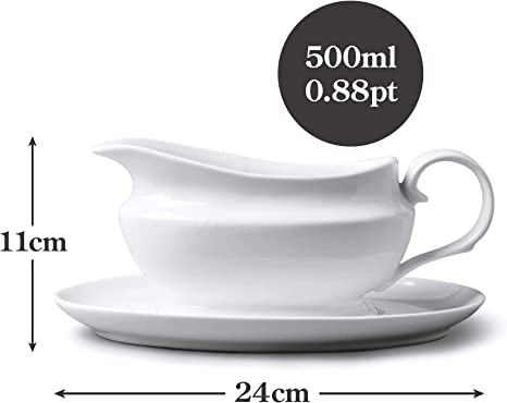 White WM Bartleet /& Sons 1750 T404 Traditional Porcelain Gravy and Sauce Boat 114ml