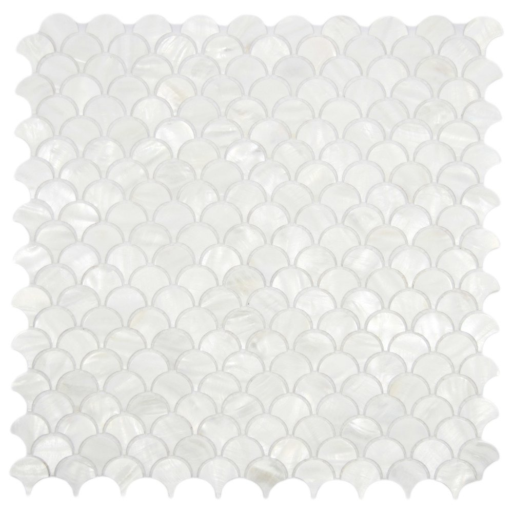 White Fish Scale Pearl Shell Tile 1 sq.ft
