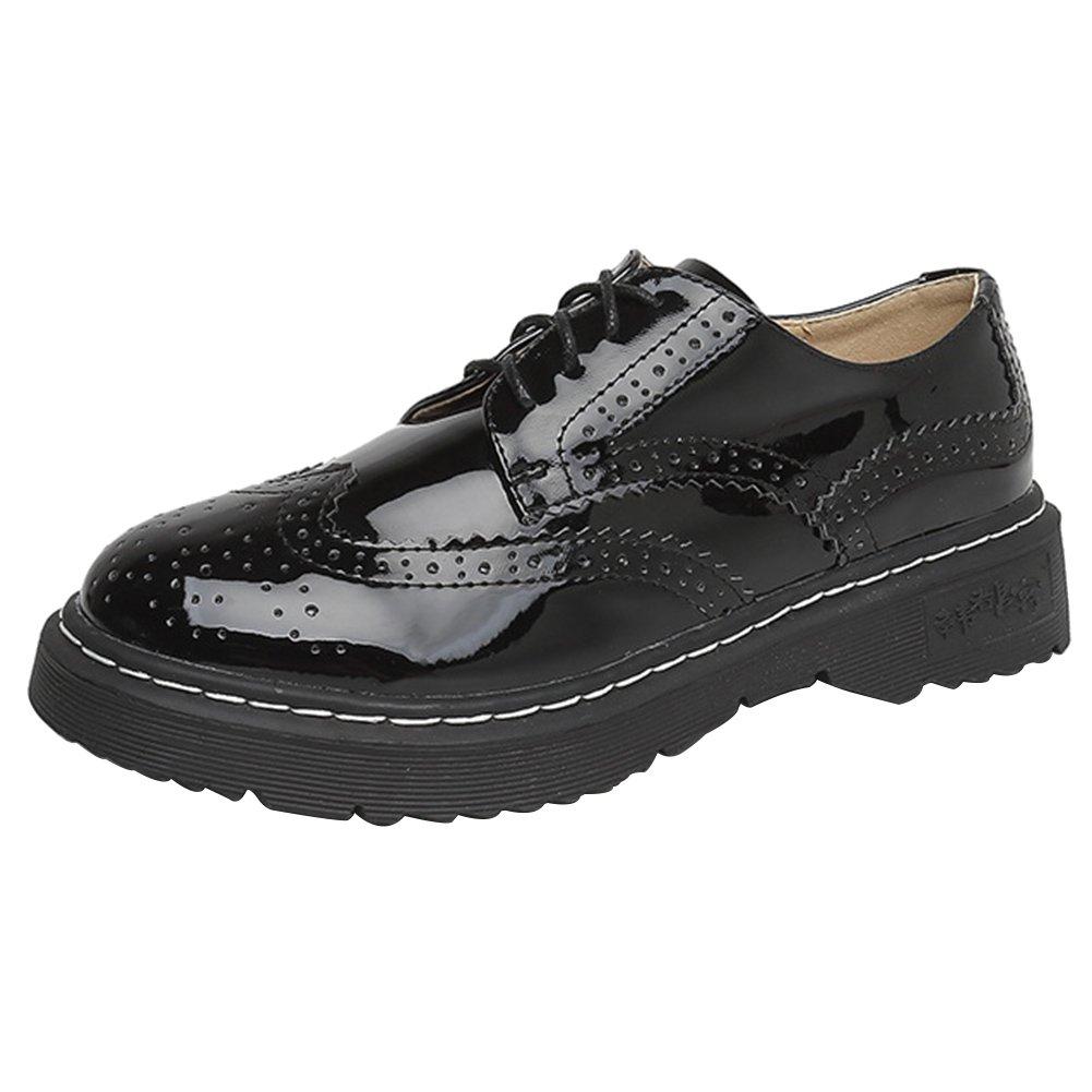 c0d8322b85 Wealsex Women's Casual Derby Brogue Carving Wingtip Black Patent Leather  Silk Ribbon Lace Up Flats Shoes: Amazon.co.uk: Shoes & Bags