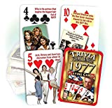 Flickback Trivia Challenge Playing Cards are actually 2 decks in one: a trivia deck with different questions for each year, and a regulation playing card deck complete with 2 jokers. The 52 different illustrated questions in each deck range f...