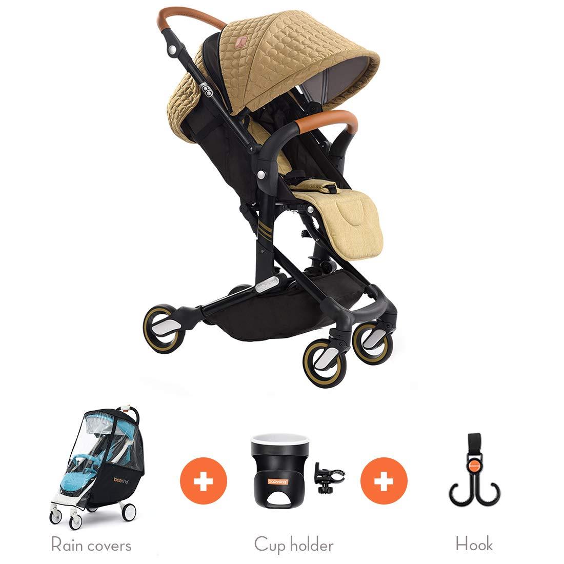 New Arrival—Babysing high Landscape Stroller Baby Stroller Four Seasons Universal Folding cart Baby Stroller I-go (English Khaki Color)