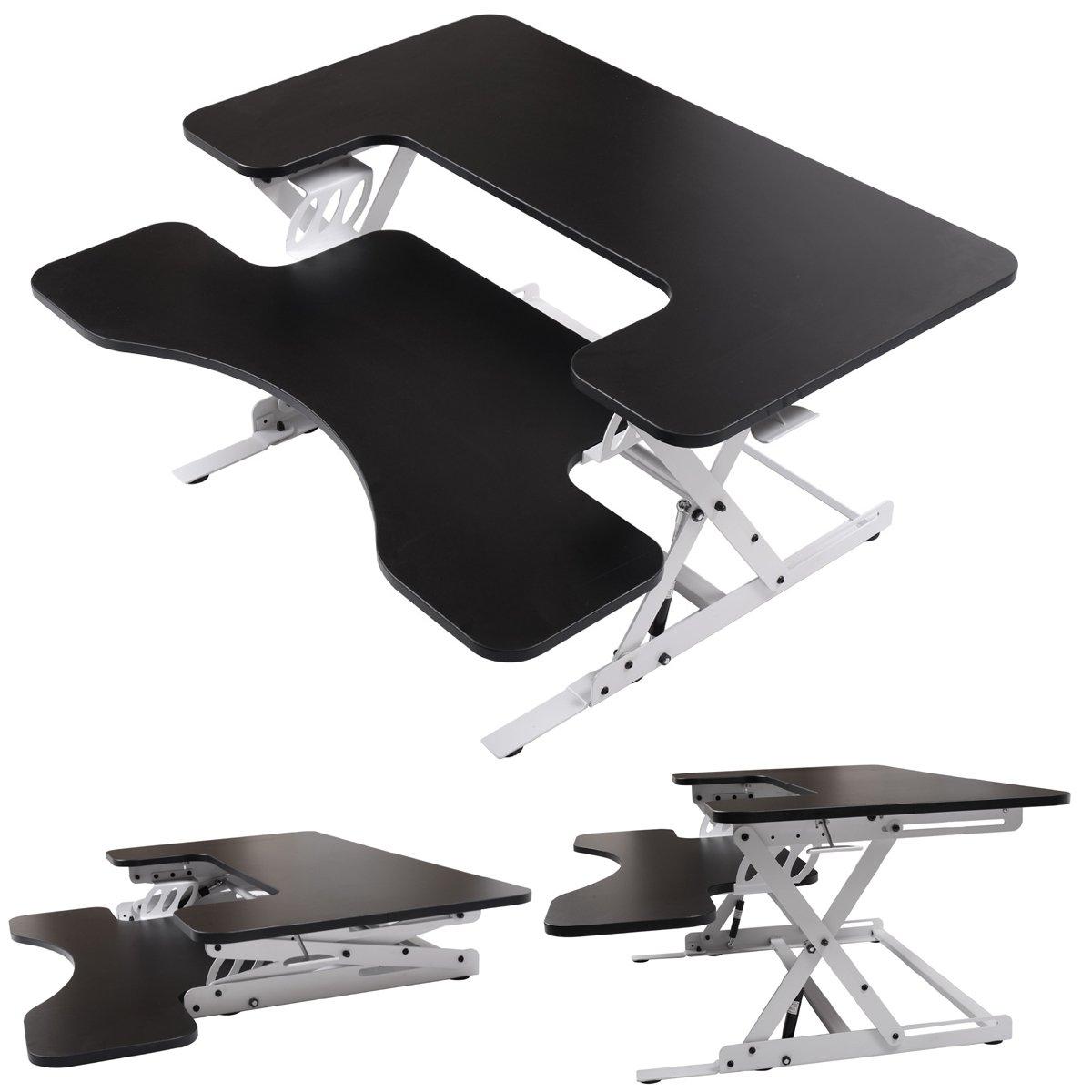 LAZYMOON Ergonomic 36'' Wide Preassembled Height Adjustable Standing Desk Riser/Stand Workstation Elevating Desktop Removable Keyboard Tray, Black & White