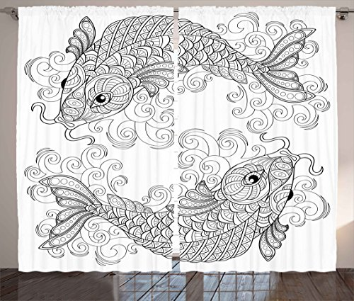 Asian Decor Curtains by Ambesonne, Traditional Koi Fish Pattern with Ethnic Embellished Ornaments Culture Image, Living Room Bedroom Window Drapes 2 Panel Set, 108W X 108L Inches, Grey White (Koi Fish Window Curtains)