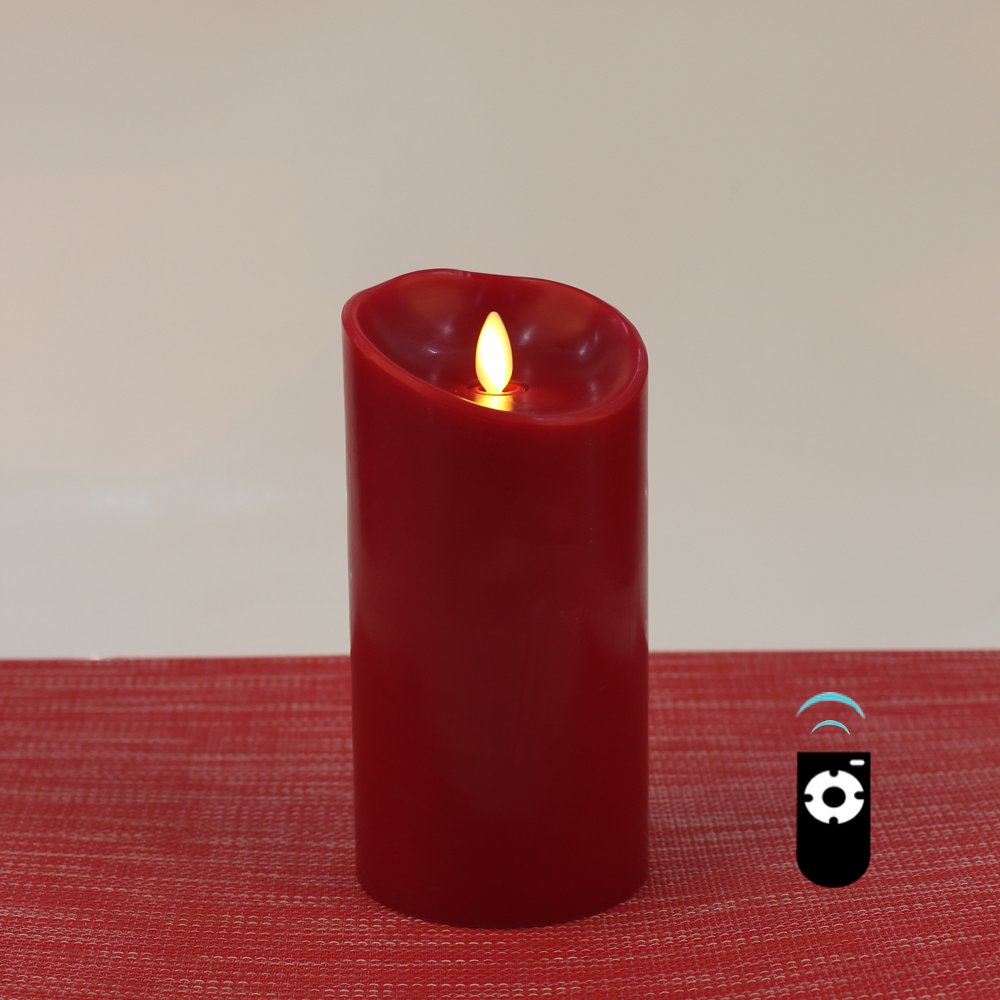 LED Candles with Real-Flame Effect, Set of 3 HueLiv Classic Paraffin Wax Pillar Candles, Cinnamon Scented, Battery Operated with Timer, Free Remote Control, Burgundy Red, Set of 3Pcs HCL-A-CRSET
