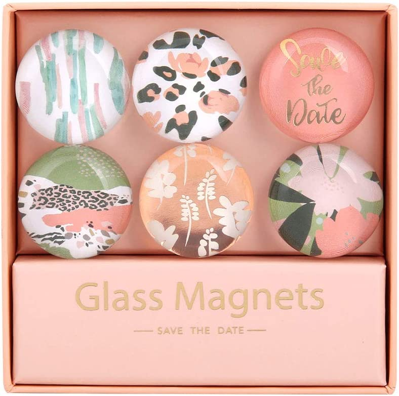 MultiBey Leopard Flower Glass Refrigerator Magnets Stickers Round Shape for Office Cabinets Whiteboards Decorative, 6 in a Box (Colorful Pink)