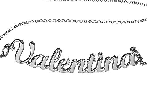 Collar con nombre Valentina de plata 925 rodeado antialérgico. Hecho en Italia. Modelo G10