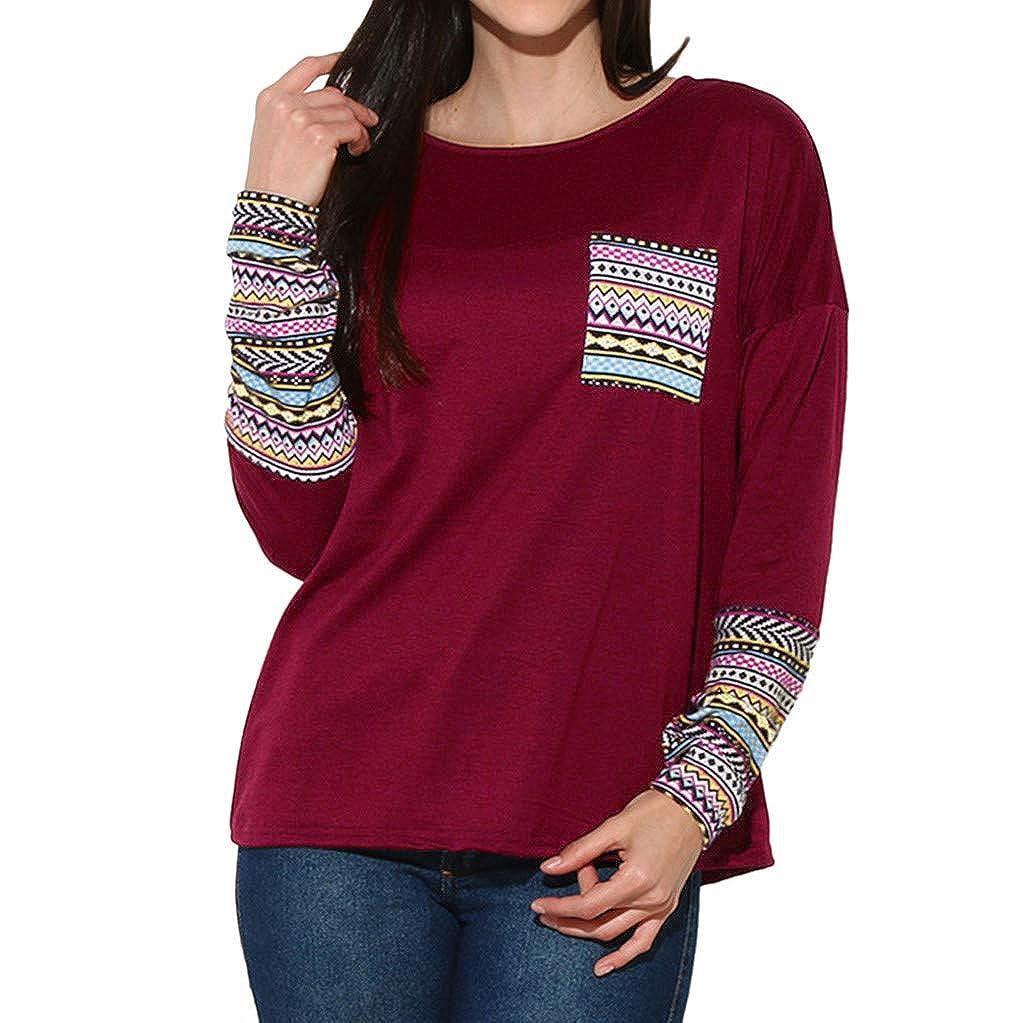 Toamen Women's Tops T-Shirt Tunic Pullover O Neck Long Sleeve Causal Sweatshirt Blouse Shirt with Thumb Holes