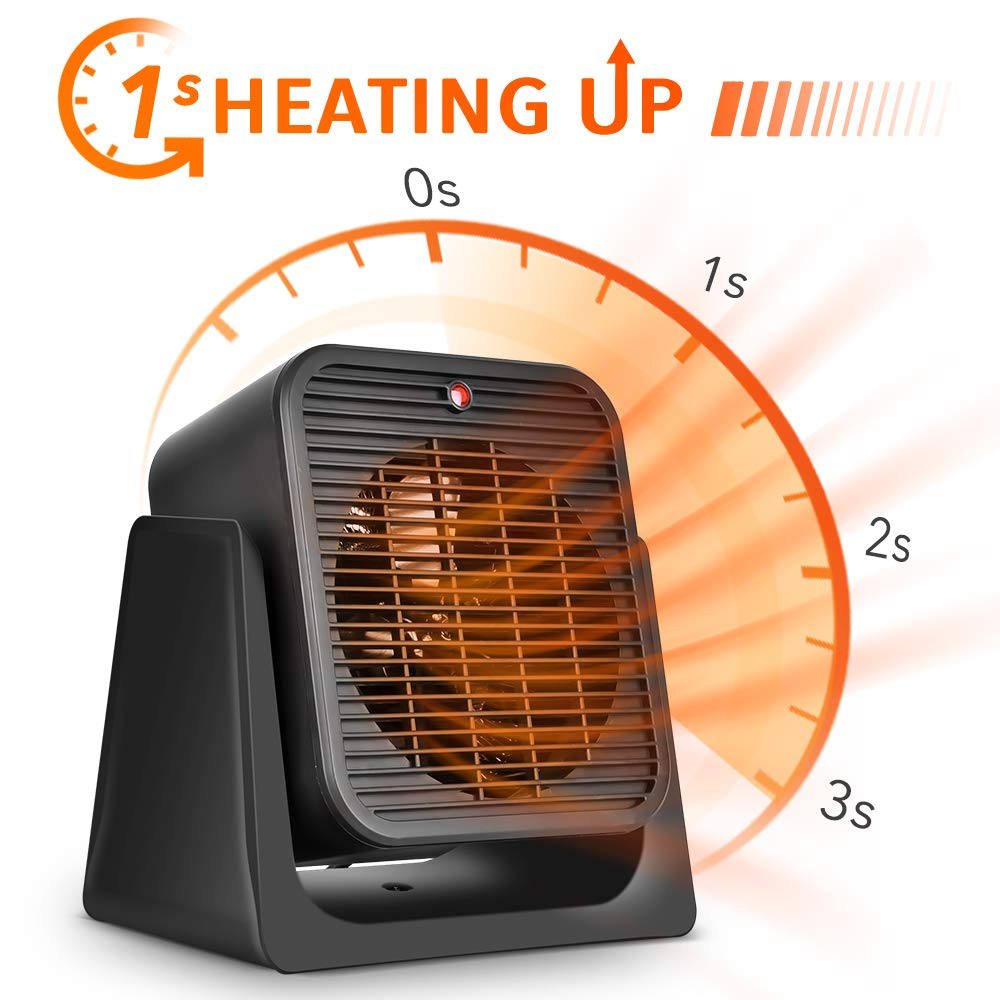 2 in1 Portable Space Heater – Quiet Combo Ceramic Electric Personal Fan, Fast Heating, Overheat Tip-over Protection Air Circulating for Office Desk Bedroom Home Indoor Use