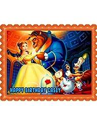Beauty and the Beast Belle Edible Cake Topper - 7.5 x 10 (1/4 sheet) rectangular