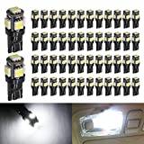 Boodled 50pcs 194 White LED Bulb Black Body Light 12V 120LM 6000k Car Interior Exterior T10 5SMD 5050 Chips Replacement For W5W 168 2825 Map Dome Courtesy License Plate Dashboard Side Marker Lights