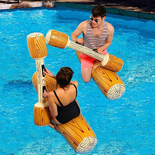 FUDOSAN Inflatable Pool Floats Pool Party Play Boat Raft Collision Toys Wood Grain Seat Mounts Water Swimming Floating Row for Kids/ Adults, Max Weight 160 lbs