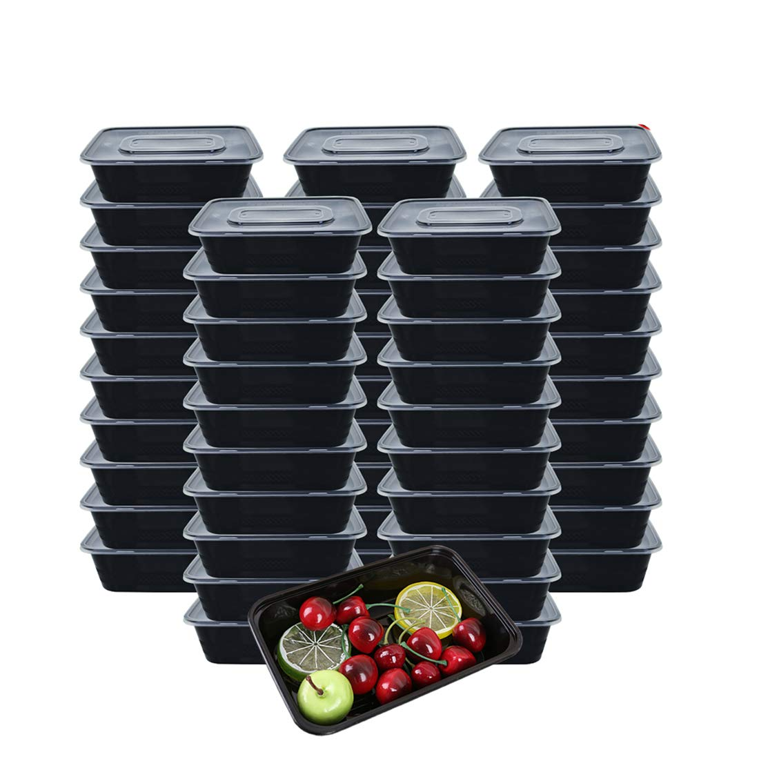 HOMEE Meal Prep Containers 50 Pack/26oz Reusable Food Storage Containers Bento Lunch Box with Lids Made of BPA Free Plastic, Stackable, Microwavable, Freezer, and Dishwasher Safe