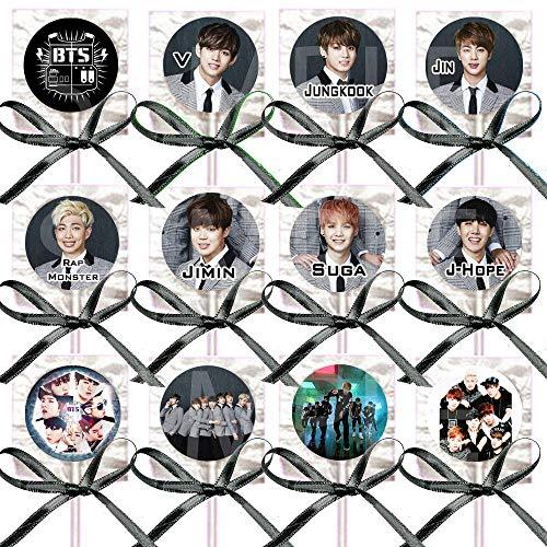 K pop Boy Band Assorted Images Lollipops Party Favors Supplies Decorations w/Black Ribbon Bows Party Favors (12 pcs) South Korean Boy Band Jin Suga J-Hope RM Jimin V Jungkook
