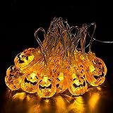 Pumpkin String Lights, LAFEINA Battery Powered 2 Meters 20LEDs Orange Pumpkin Light for Halloween, Xmas, New Year, Party, Garden, Bar, Outdoor, Indoor Decoration Lights (1)