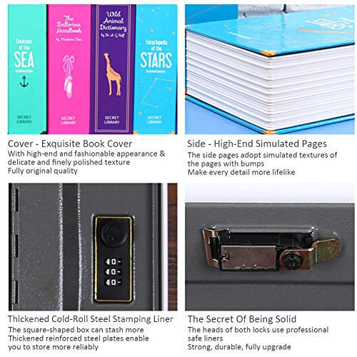 Sundlight Book Safe with 3 Digital Combination Lock Hidden Diversion Safes Large Storage for Currency,Passports,Jewelry,Pistols and Other Stuffs,5.5cm x 11.5cm x 18cm by Sundlight (Image #4)
