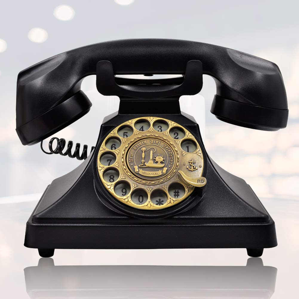 IRISVO 1960s Rotary Dial Telephone Retro Old Fashioned Landline Phones with Classic Metal Bell, Handfree and Redial Function for Home and Decor(Classic Black)