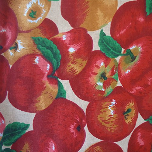 Poly Cotton Print Fruits 60 Inch Fabric by the Yard (F.E. (Apples - With Fabric Apples