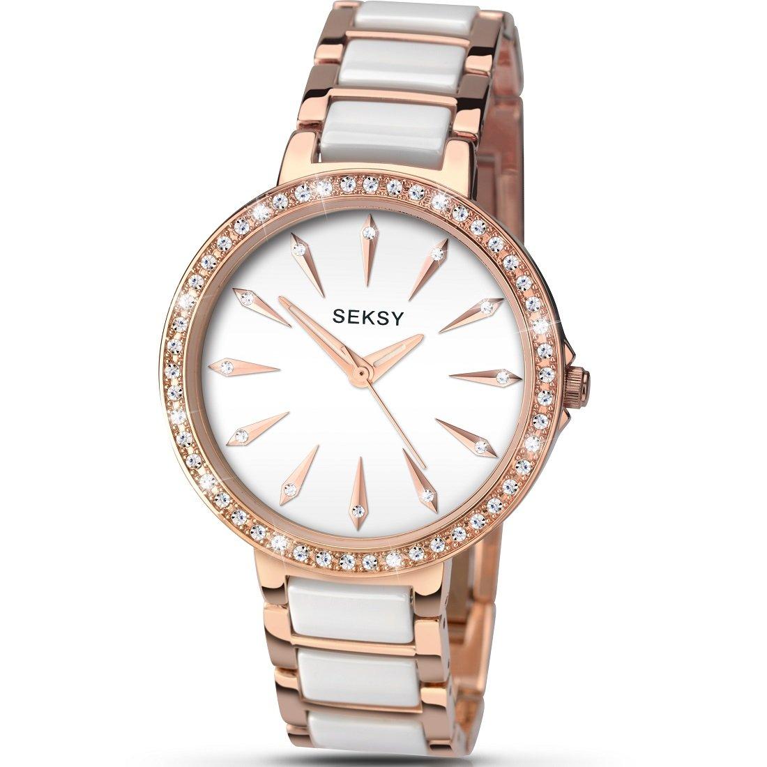 1fcd8c538e85 Sekonda Seksy Aurora White Dial Rose Gold Bracelet with White Ceramic Inlay  Ladies Fashion Watch 2404  Amazon.co.uk  Watches
