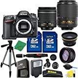 Great Value Holiday Bundle for D7200 with 18-55mm AFP + 55-200 VRII + Tripod + 2pcs 32GB Memory Cards + Wide Angle + Telephoto + Reader + Lens Pen + Flash
