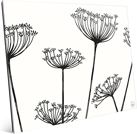 Amazon Com Meadow Flowers Horizontal Black On White Mid Century