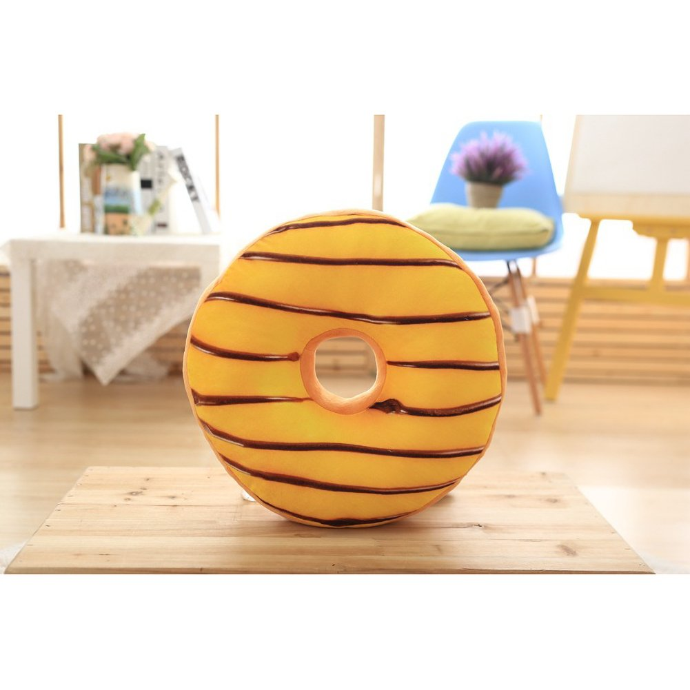 ChezMax Round Doughnut Donut Seat Back Stuffed Cushion Insert Filler Filling Throw Pillow Plush Play Toy Doll for Children Bedroom Bedding Bed Room Yellow 16 X 16''