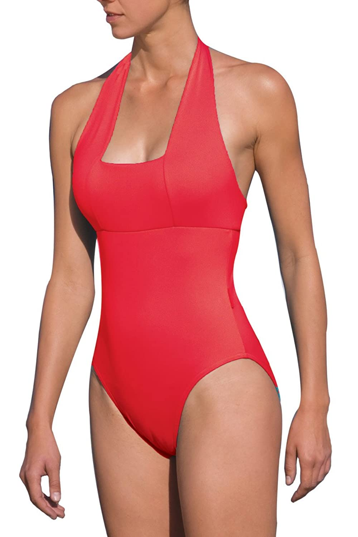 Elite Neckholder-Badeanzug rot