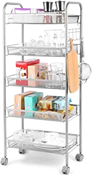 Metal Mesh Storage Rolling Cart 5 Basket Shelf Trolley Home Office Organizer