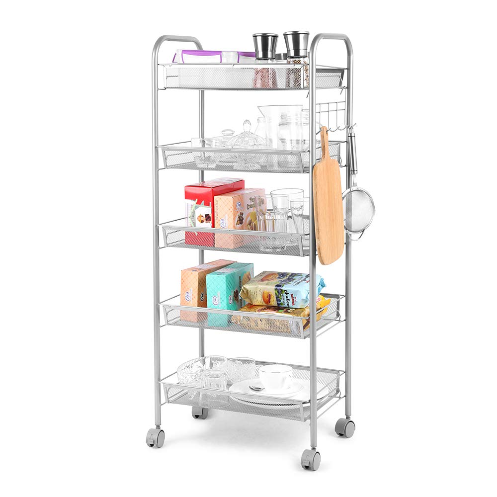 Cozzine 5-Tier Metal Mesh Rolling Cart, Kitchen Rolling Utility Cart Trolley Storage Cart with Lockable Wheels, Wire Basket Shelf Trolley with 5 Side Hooks for Home Kitchen Office Bathroom, Sliver by Cozzine