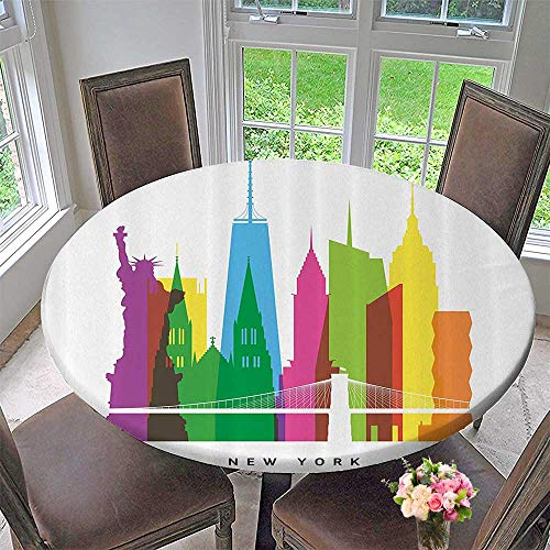 (Mikihome Round Premium Table Cloth Landmarks of New York City Lirty Statue Empire State St Patrick Cathedral 47.5