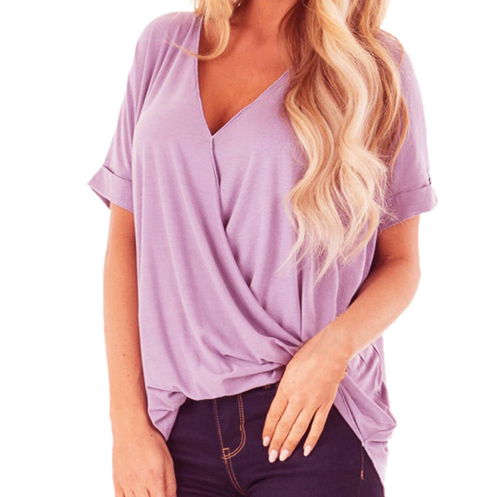 iYBUIA Fashion Womens Chiffon Pure Color V-Neck Short Sleeve Shirt Blouse Tops Purple
