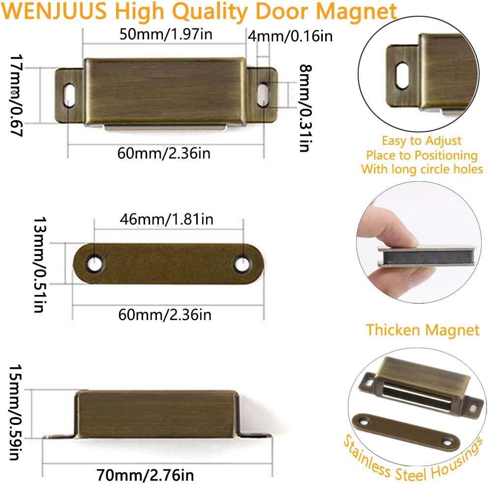 Magnetic Door Catch Strong WENJUUS 4 Pack Cabinet Door Magnets Cupboard Door Latch for RV 40 lbs Sliding Drawer Closer Kitchen Closet Closures Wardrobe Shutter Stainless Steel Hardware Closing-Bronze