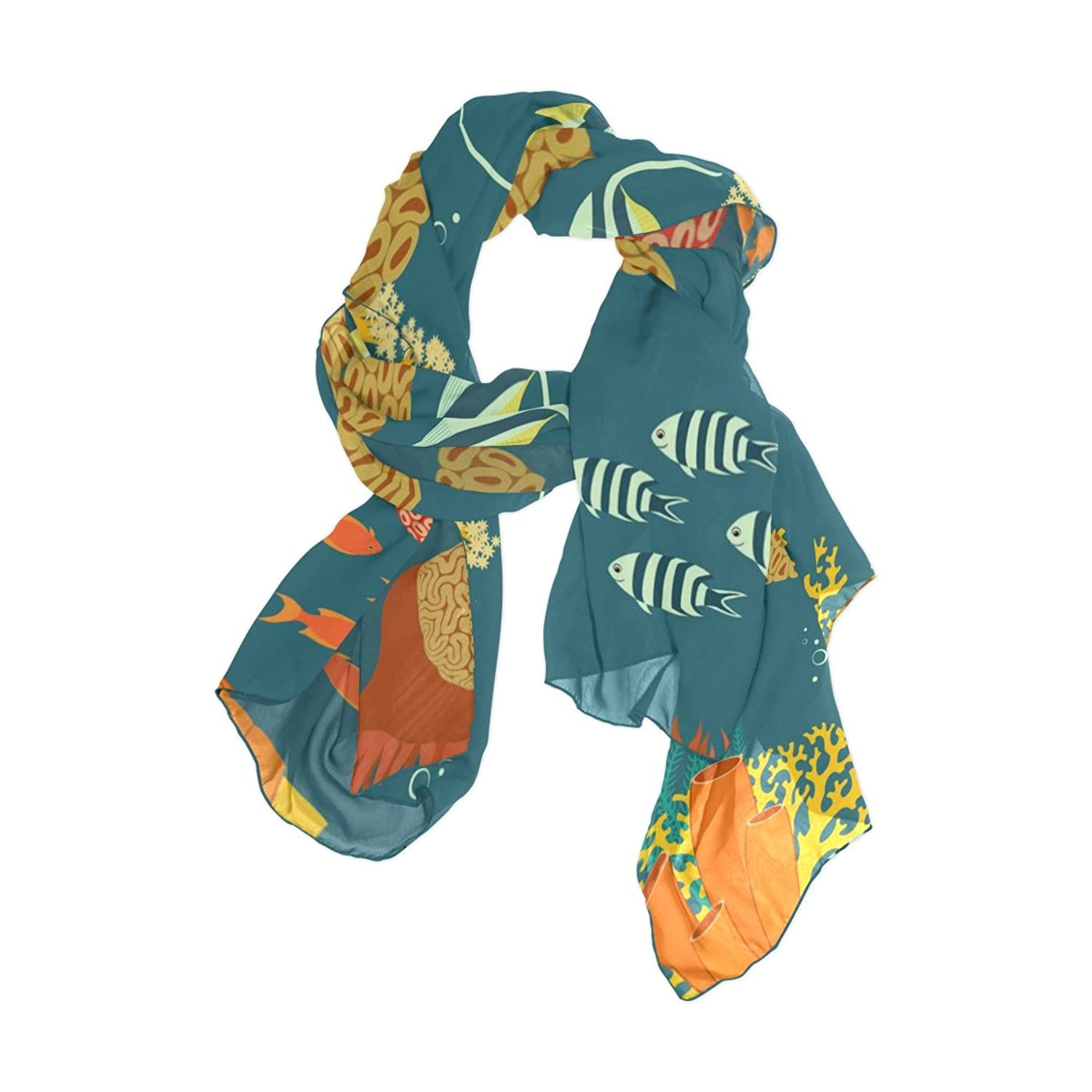 Shawl Wrap Sheer Scarves,Cartoon Blue Ocean Sea Fish Coral,Oblong Chiffon Scarf