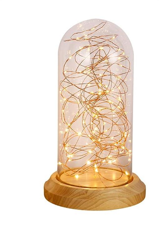 TTXLY Lámpara de Mesa Creativo Retro Vidrio LED Dormitorio Mesita ...